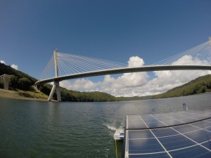 The Terenez Cable-stayed bridge over River Aulne, near Brest, FR