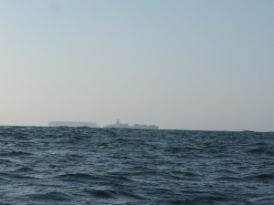 Two extremely large ships in front of me. English Channel