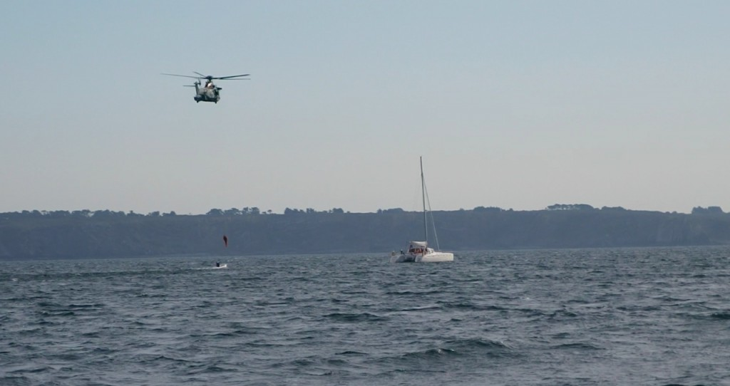 French Coast Guard practicing helicopter rescue nr Camaret